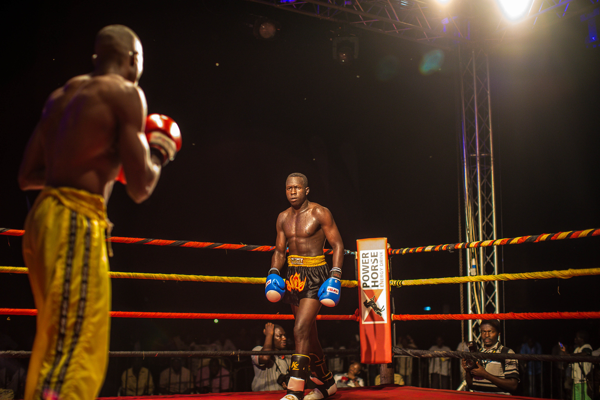 Abayok circles his opponent in the ring.