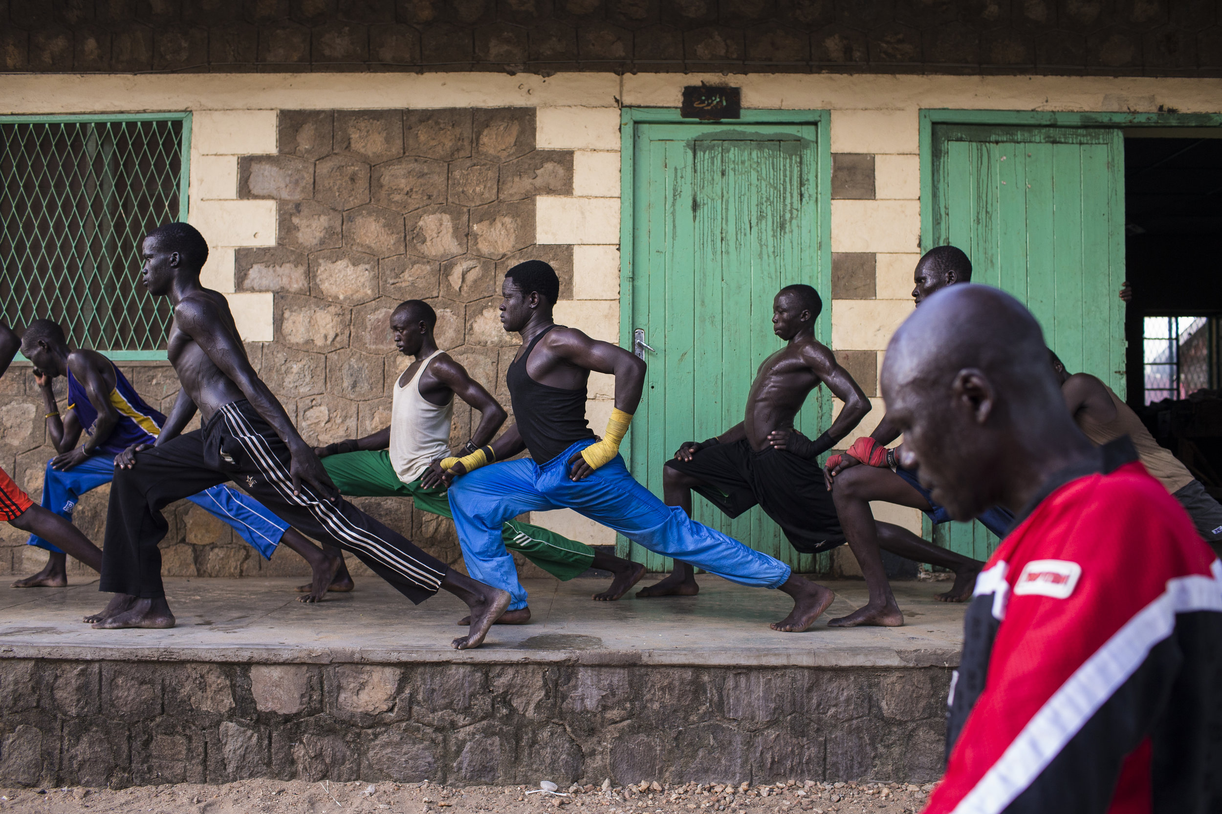 Team members stretch at the end of their day's training in Juba.