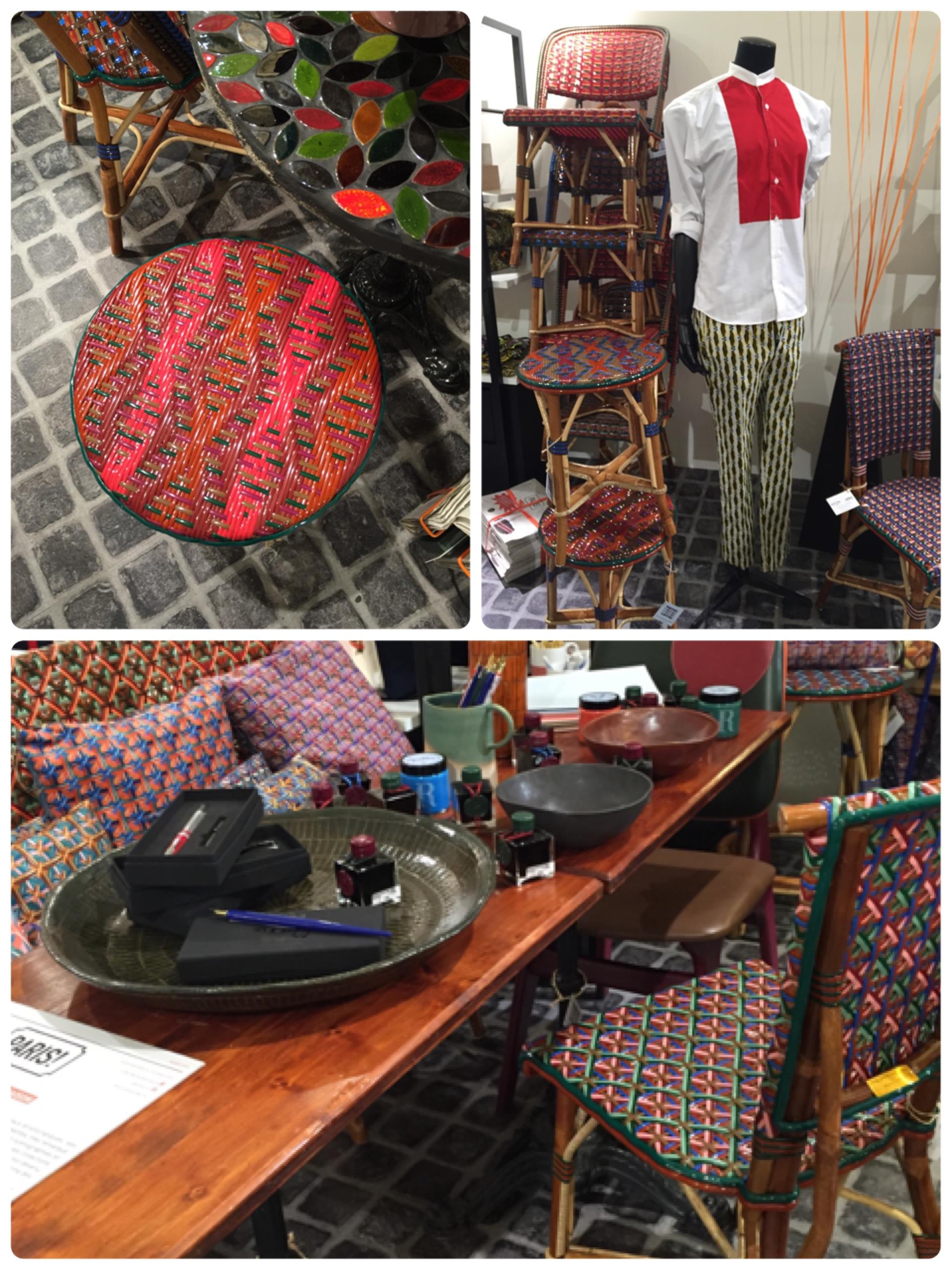 這次發現傳統的 Bistro 藤椅顏色變的好鮮豔,編織的方式與與花樣也越來越多變,覺得很可愛。