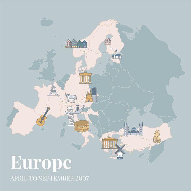 Making maps of old trips for a photo book I'm working on 🗺 . . . #digitalillustration #lineillustration #digitaldrawing #map #travel #travelillustration #europe #eurotrip #designer #graphicdesigner #visualdesigner #destinationmaps #digitalart