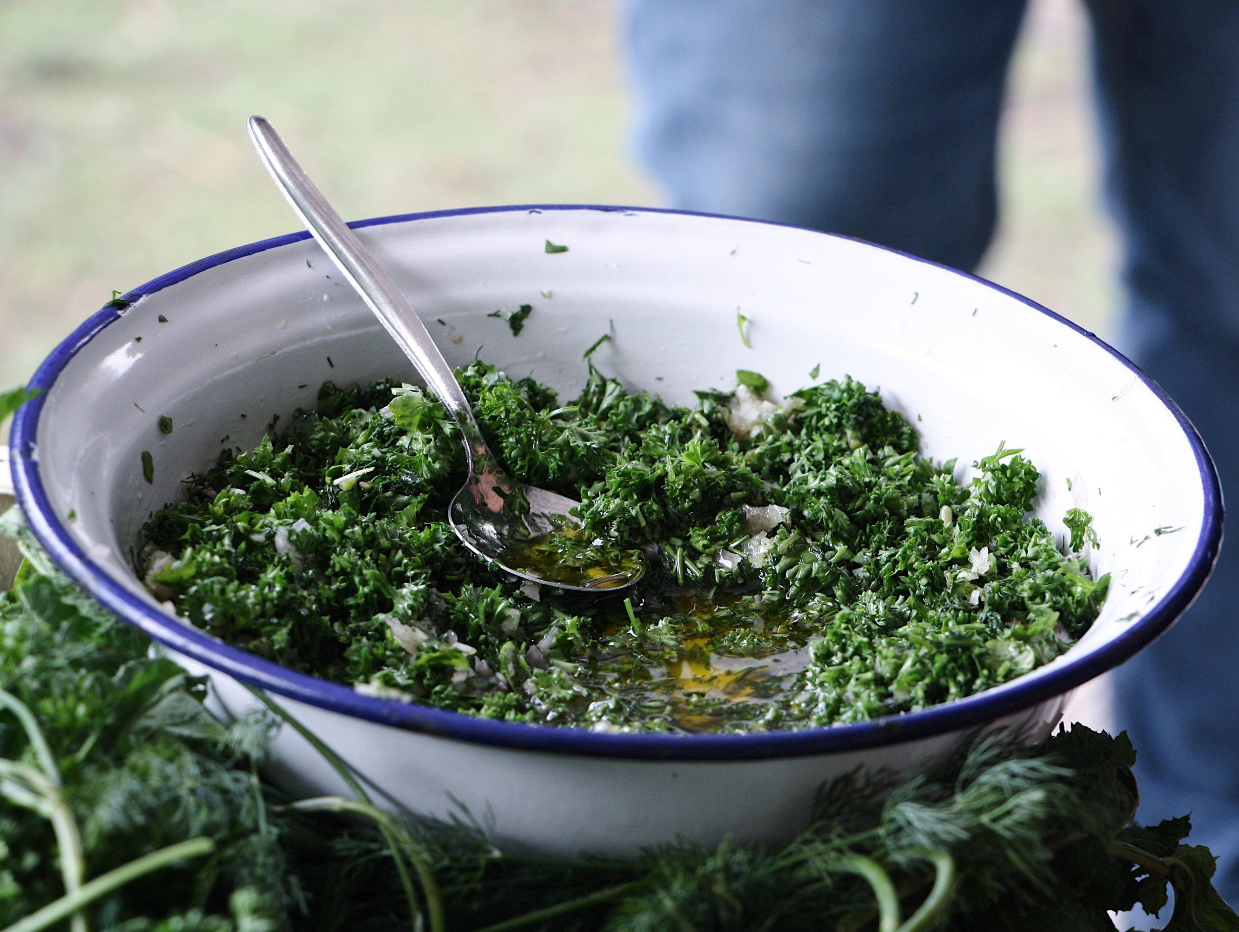 wild salsa verde with foraged ingredients