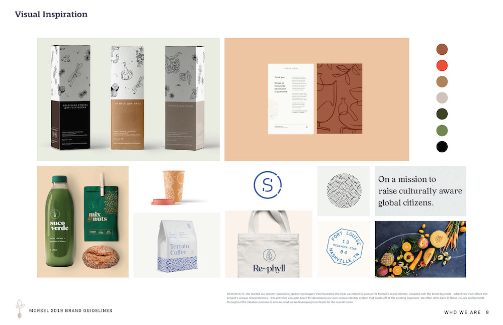 Moodboard - A mood board was created to set the style, visual tone, and direction for the brand before a logo was developed.