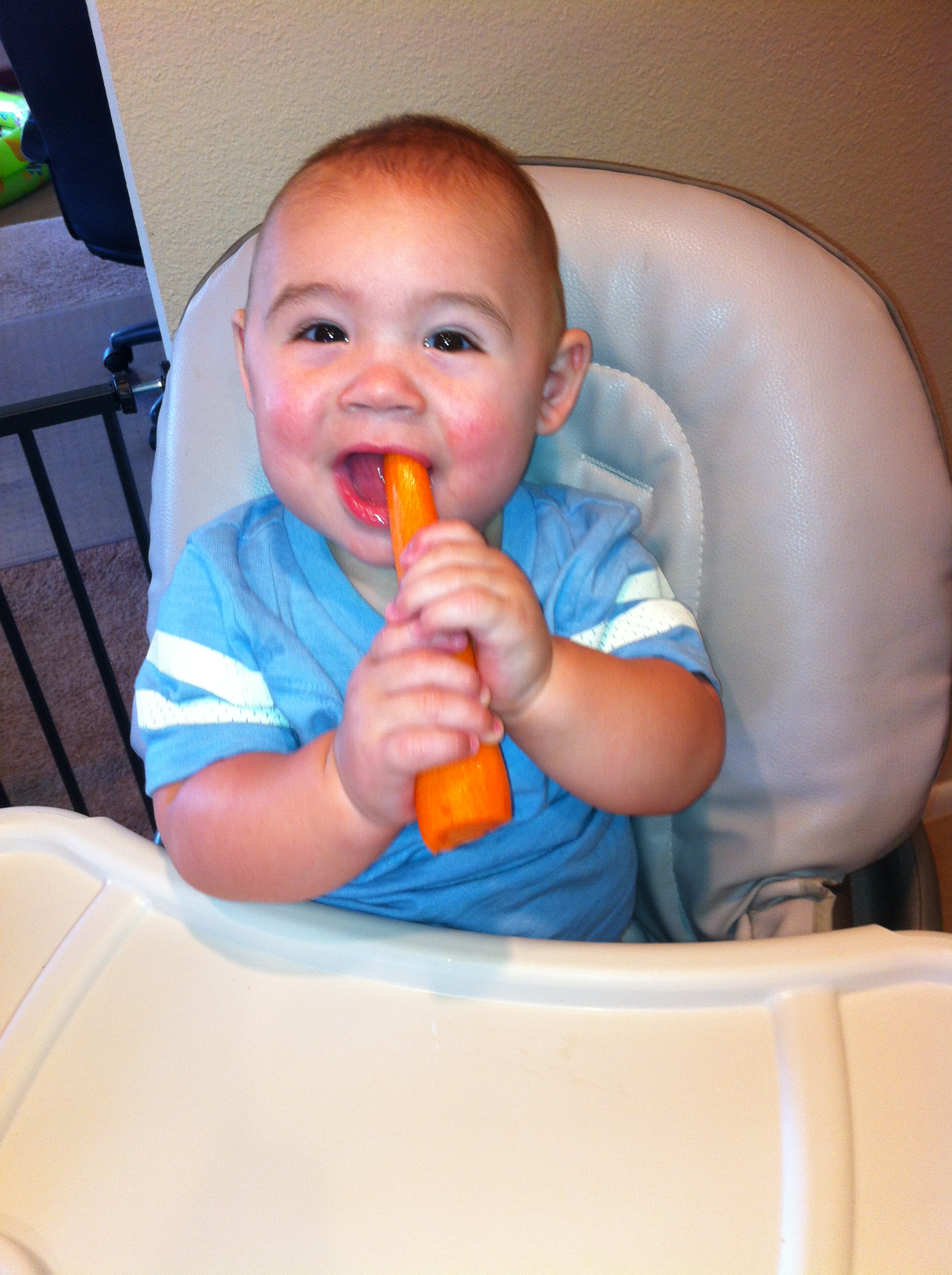 """""""What's up doc?"""" Jacob loves teething on his carrot"""