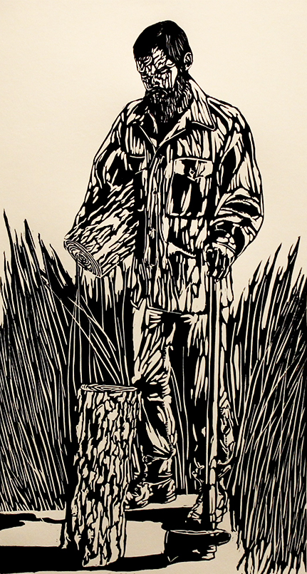 """The Woodsman"" | Linocut | ""10 x 16"" | 2014"