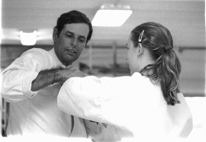 Frank Bell Sensei teaching in Sarasota with Christine Lee as Uke.