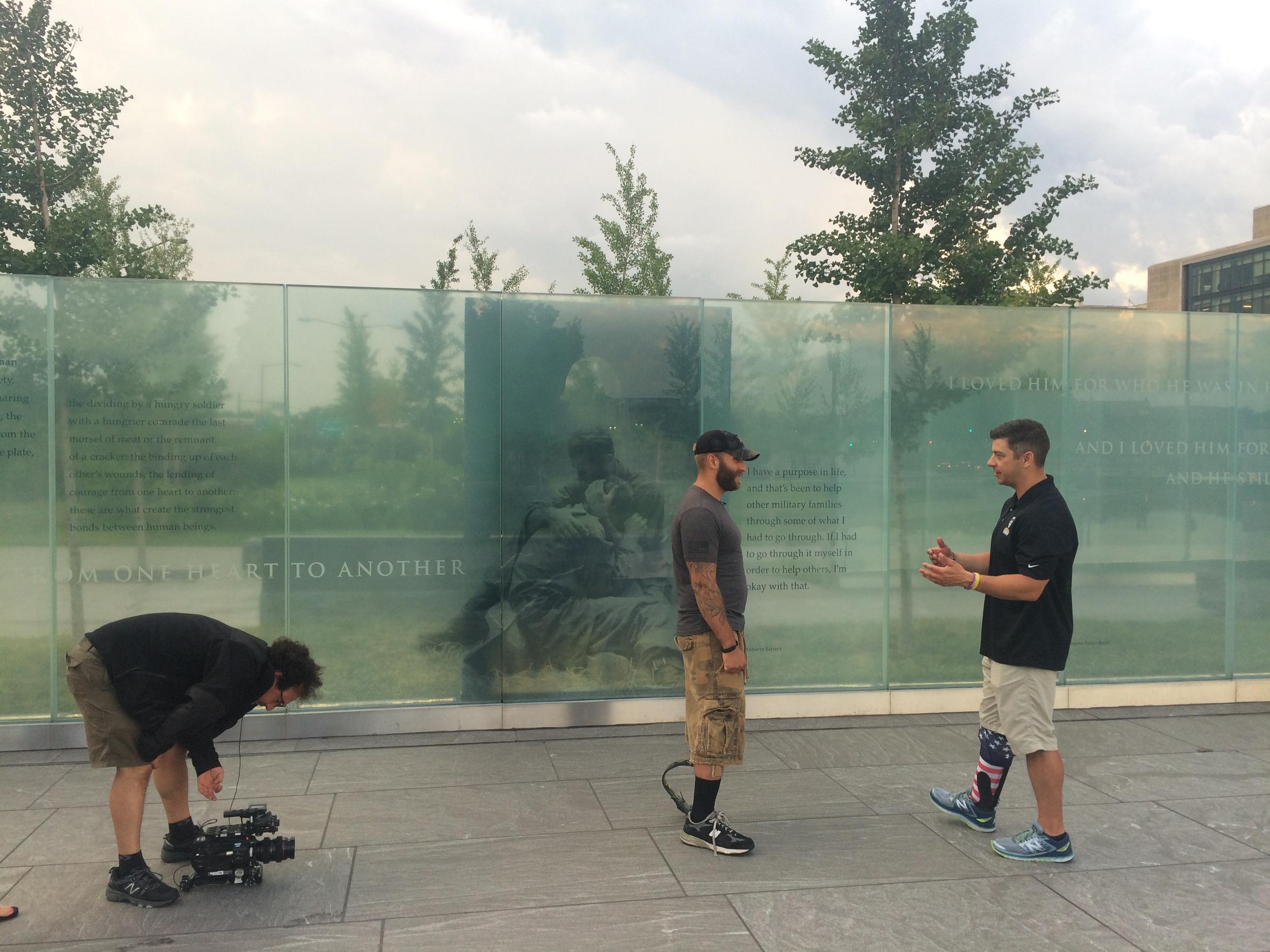 Cinematographer Nicola Raggi capturing Earl and Rick at the Disable Veterans Memorial in Washington DC