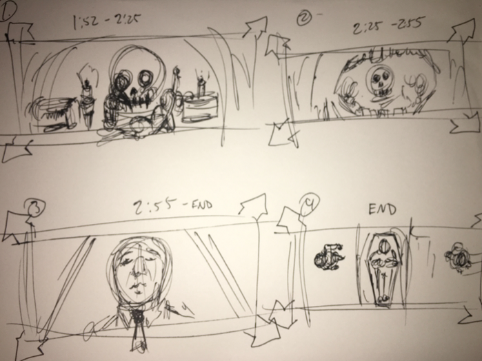 Initial Storyboards (The original idea had the singer being dead, not the girl.)