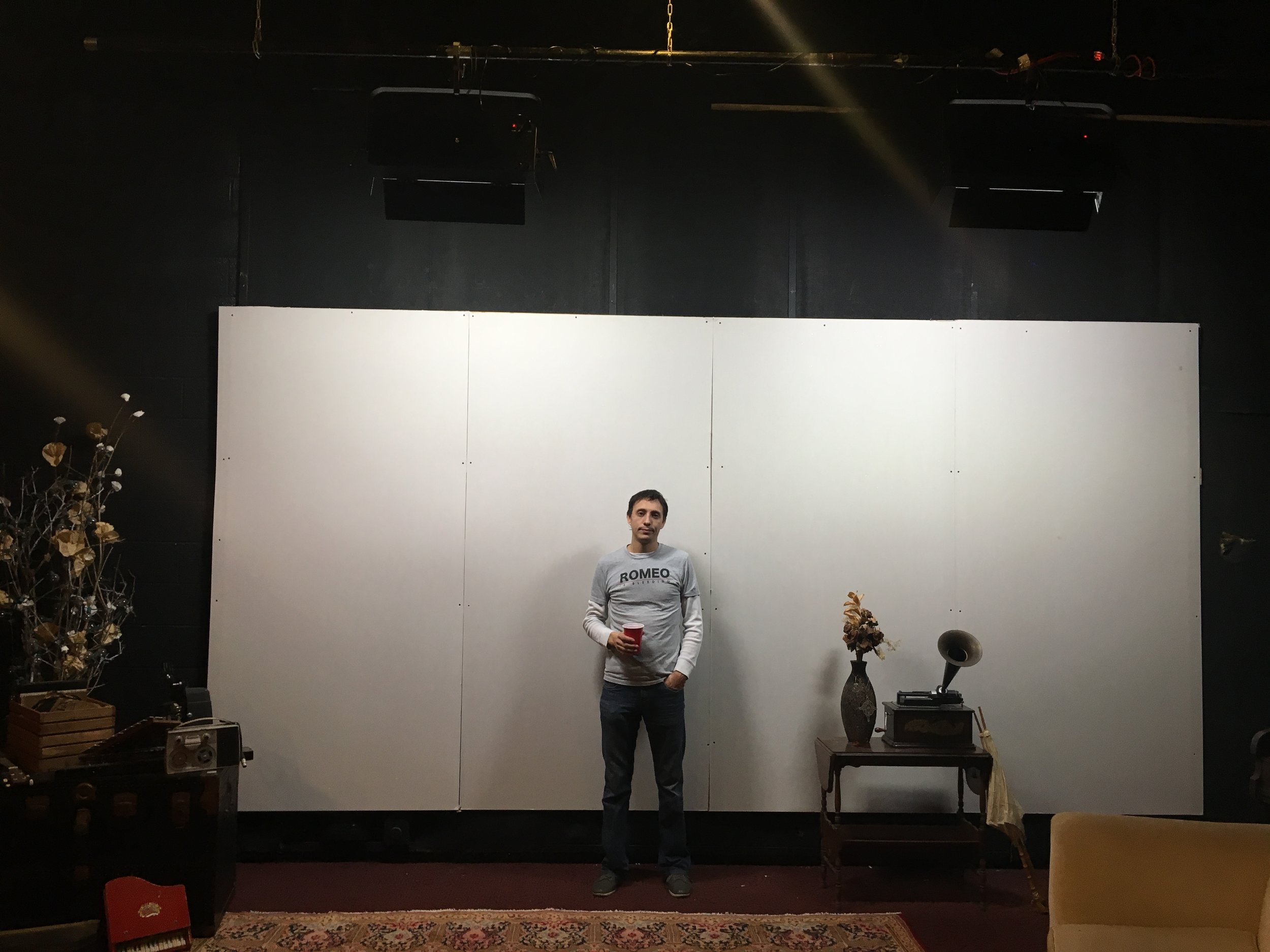 Building the set. Michael for scale.