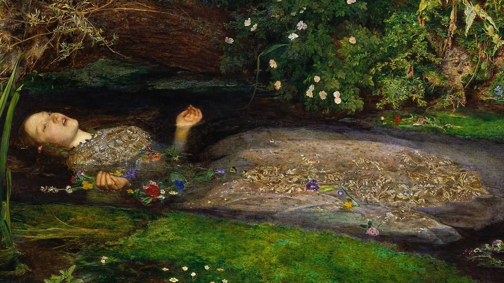 Representational painting of the death of Ophelia - Inspiration for the piece