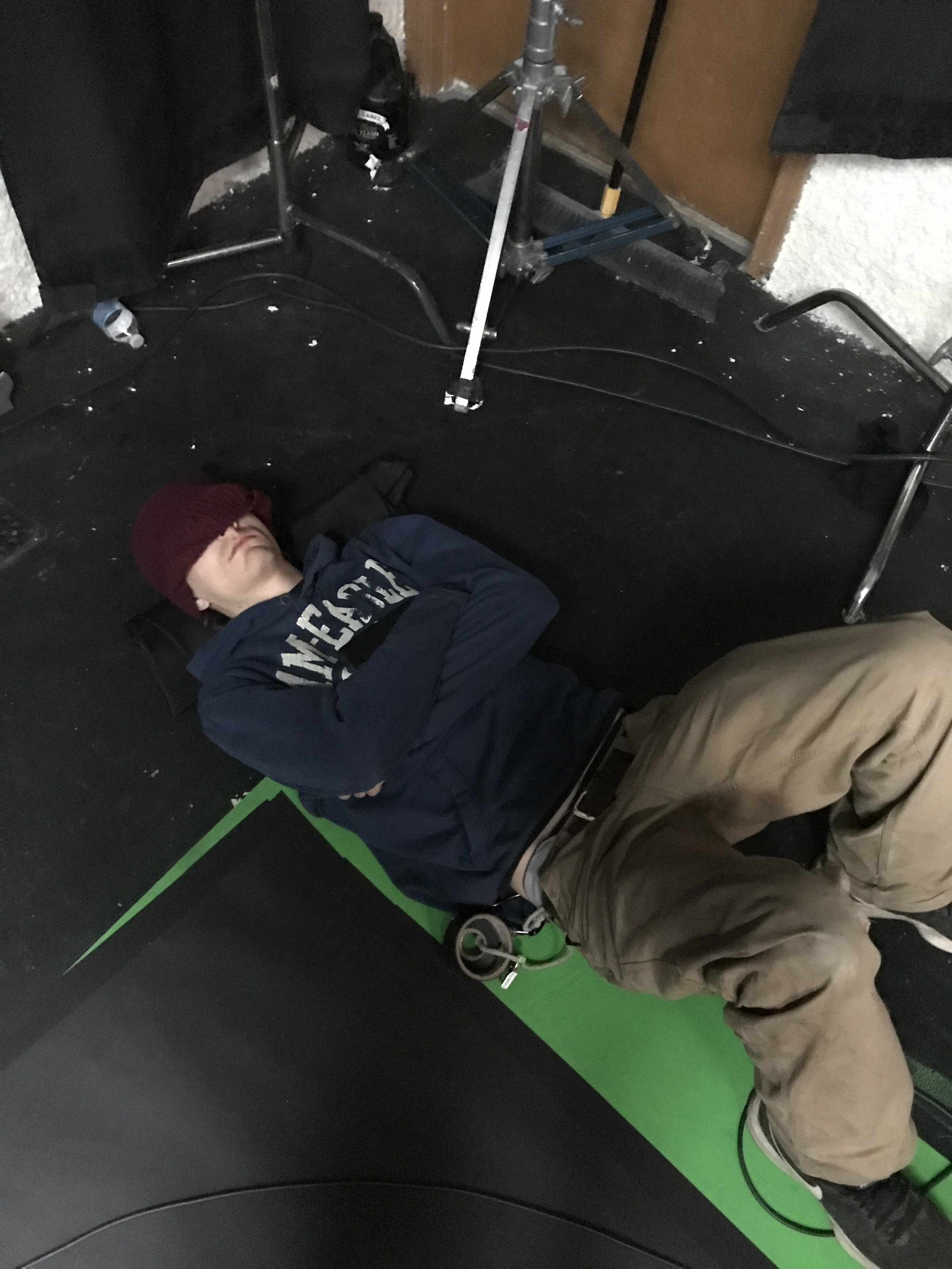 Mikey Tell (Key Grip) napping hard. Mikey was on a night shoot with Matthew Mcconaughey and came straight to our set. That's dedication to your craft.