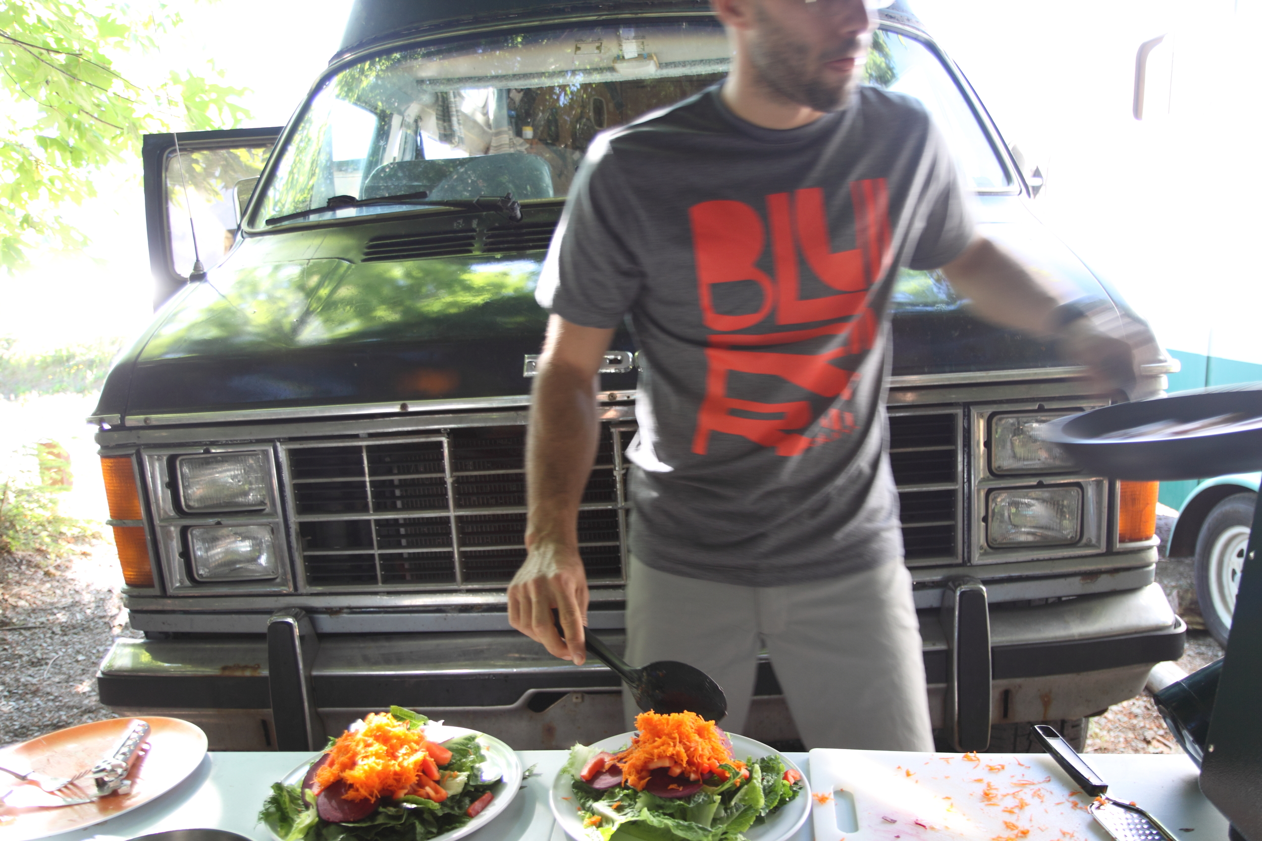 Dinner is served in front of the mighty Dodge.