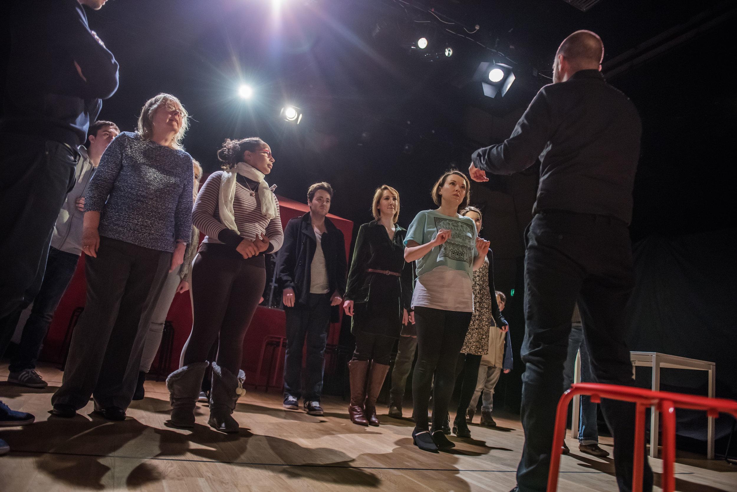 Audiences participate in Joaquin's (Javier Rasero) dance class as he teaches Lisa (Gemma Mae Halligan).