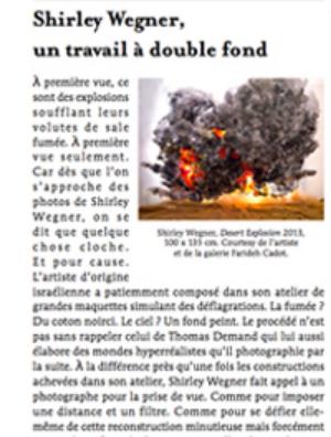 """Roxana Azimi, """"Shirley Wegner: un travail a' double fond,"""" Le Quotidien No. 495, 28 November 2013"""