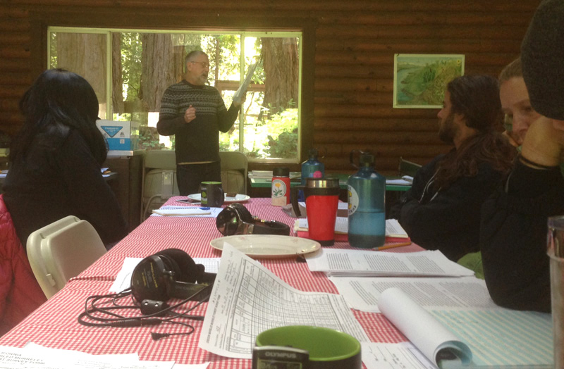 Instructor David Fix lectures to murrelet survey class participants at Butano Redwoods State Park.  Photo courtesy of Justin Miller