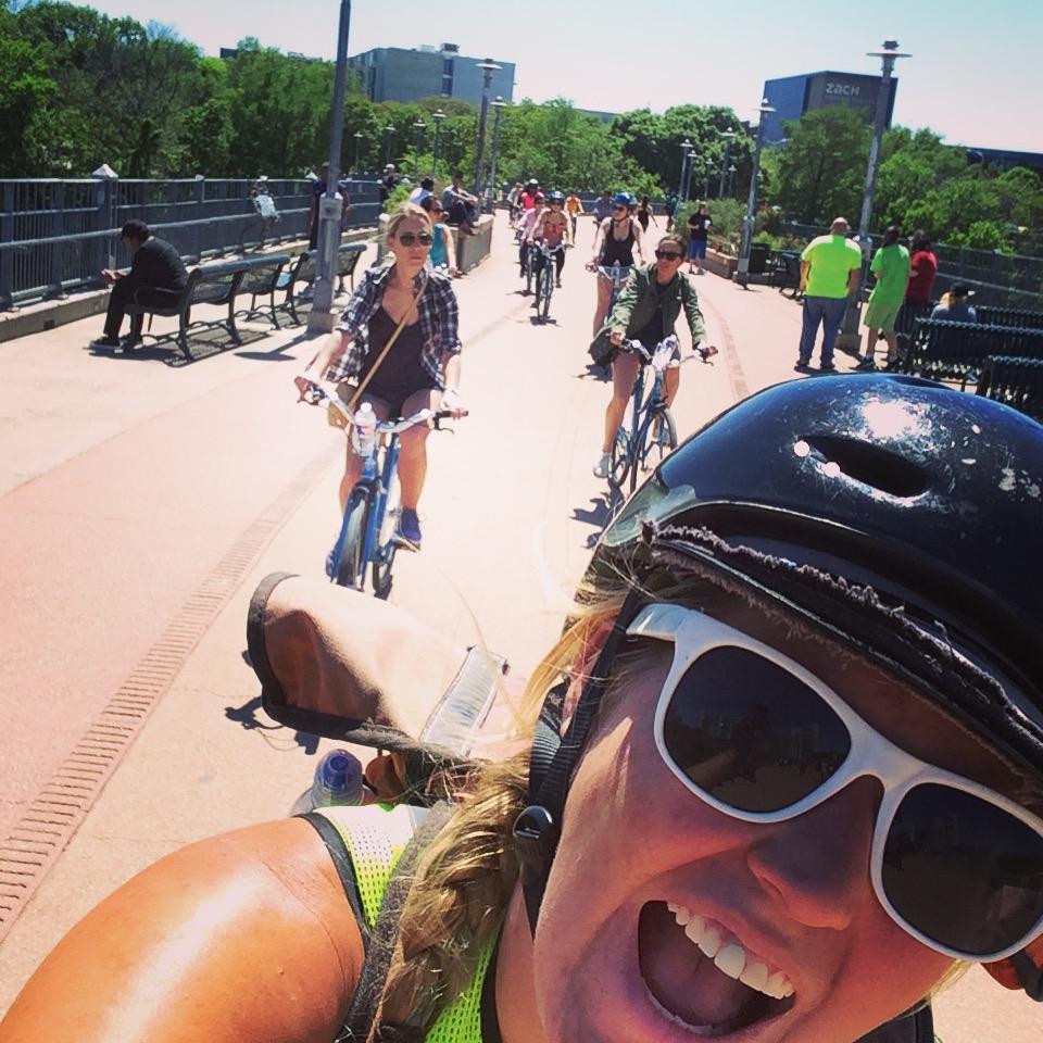My favorite bike selfie on all time on the pedestrian bridge!