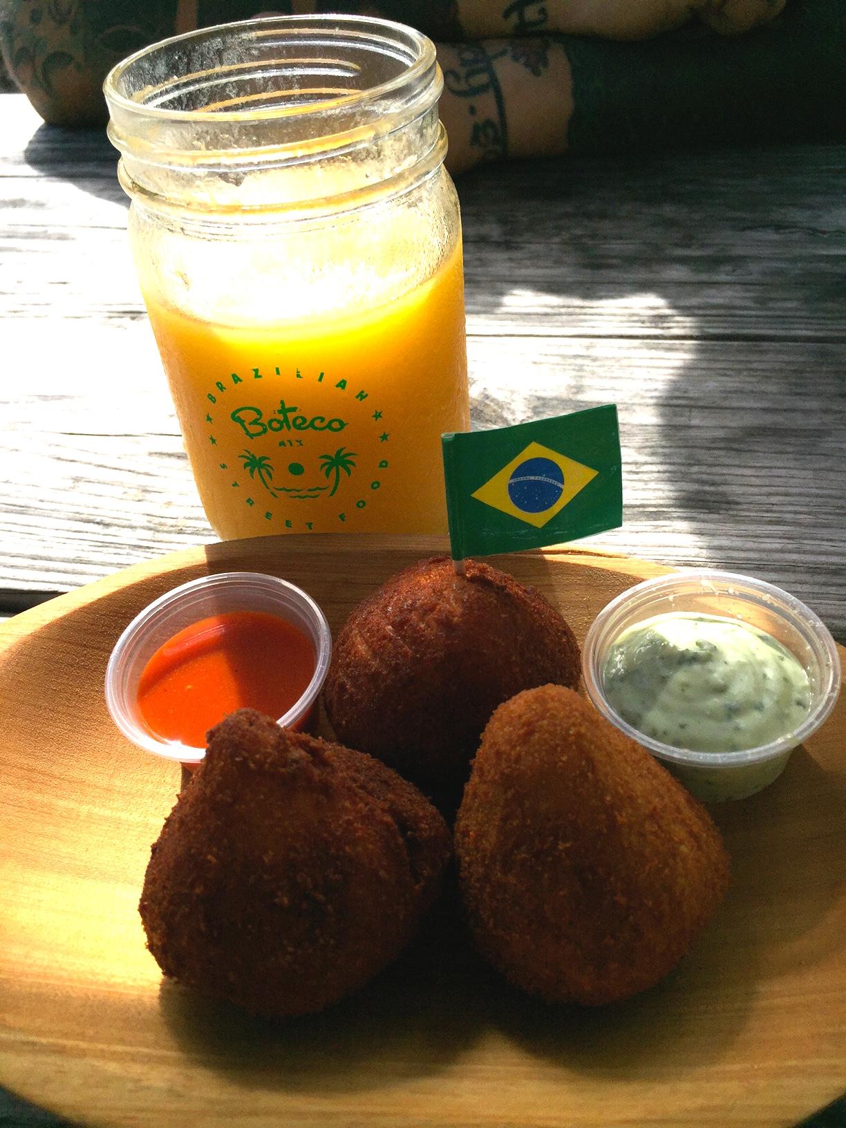 Coxhinhas and fresh squeezed mango juice