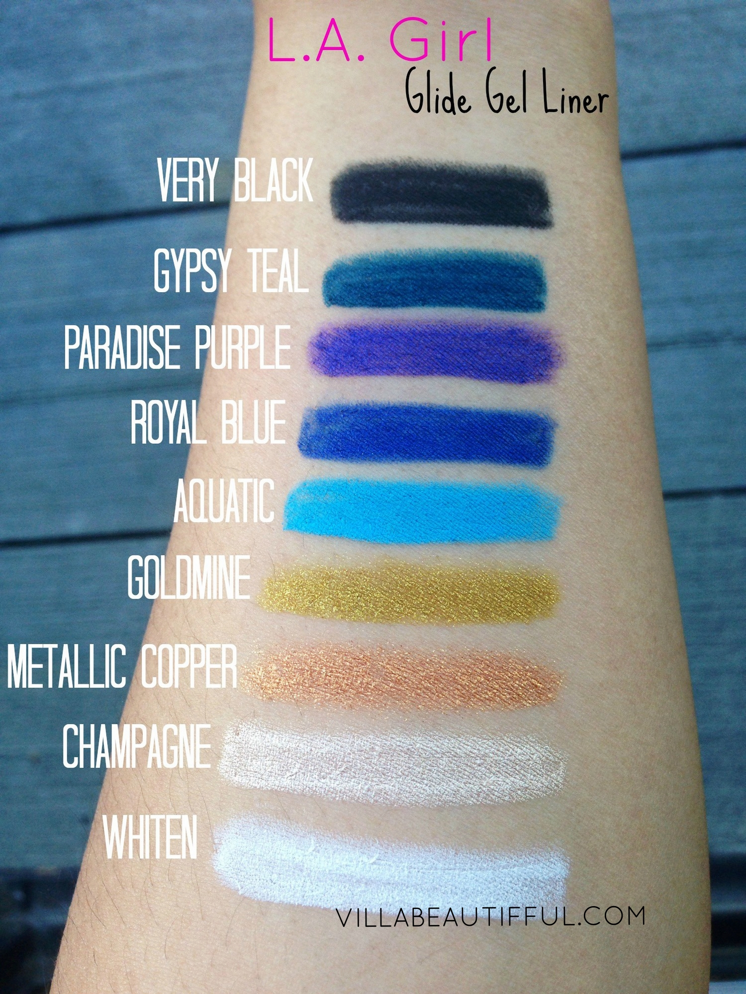 L.A. Girl Glide Gel Liner Swatches
