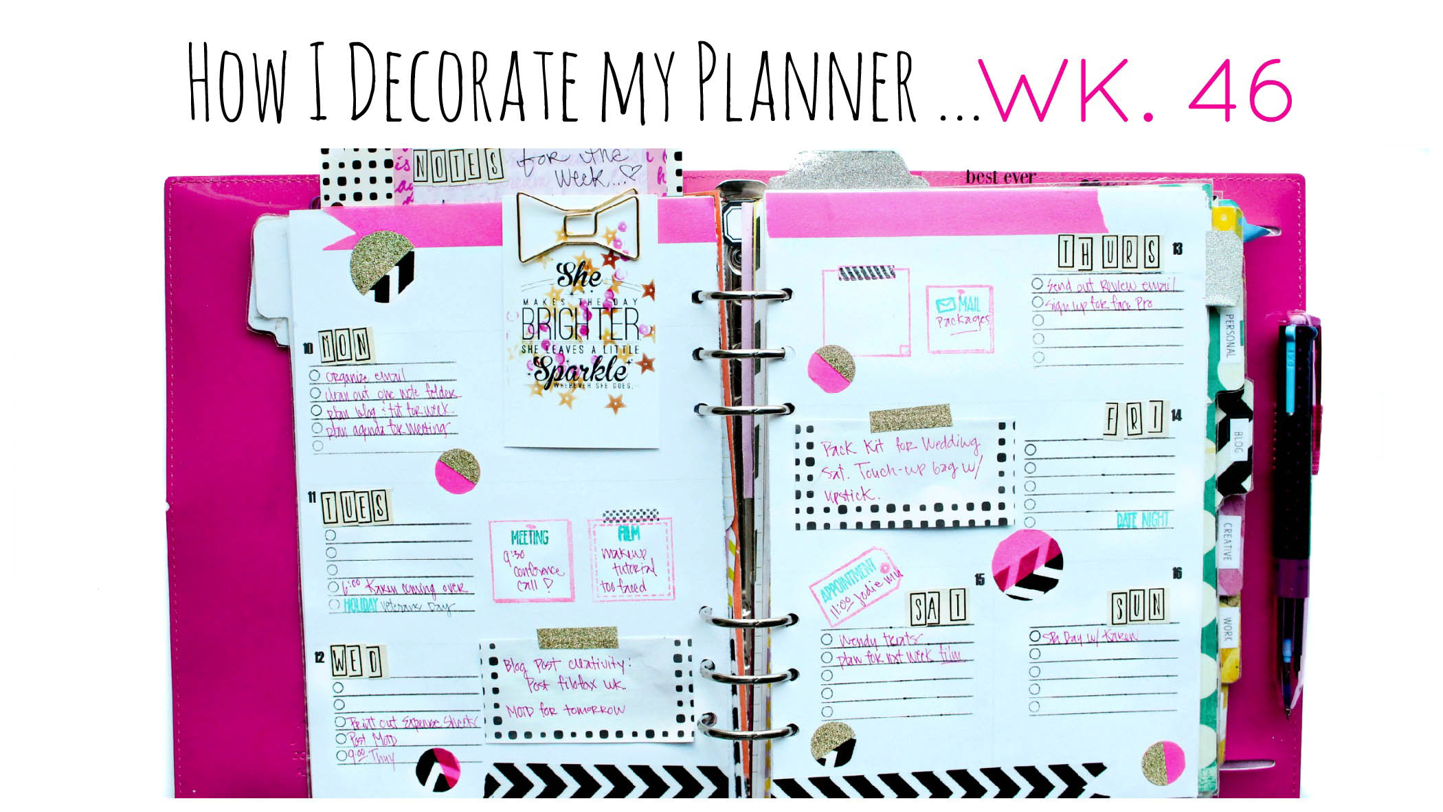 Filofax weekly layout