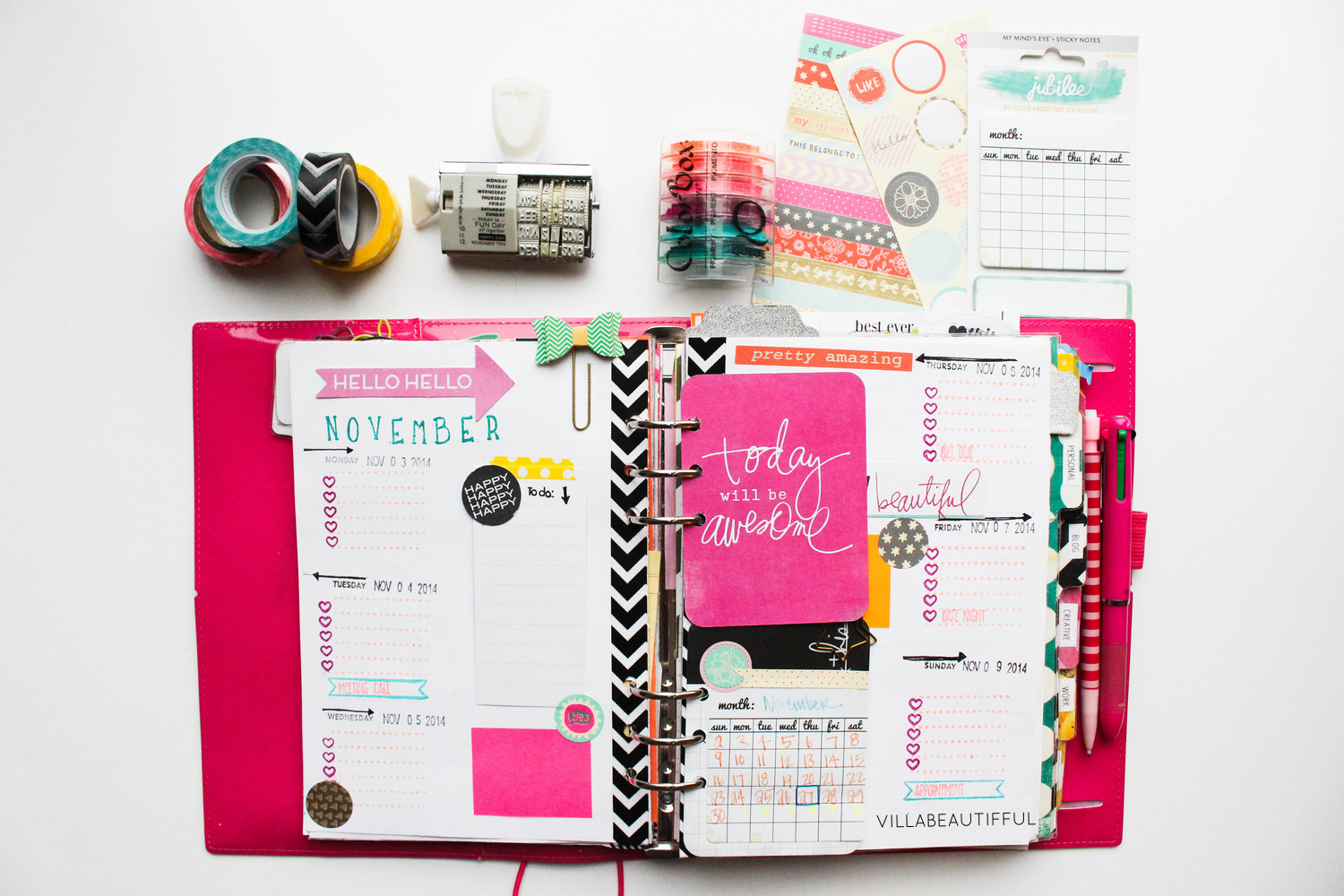 Filofax weekly page Bright Nov