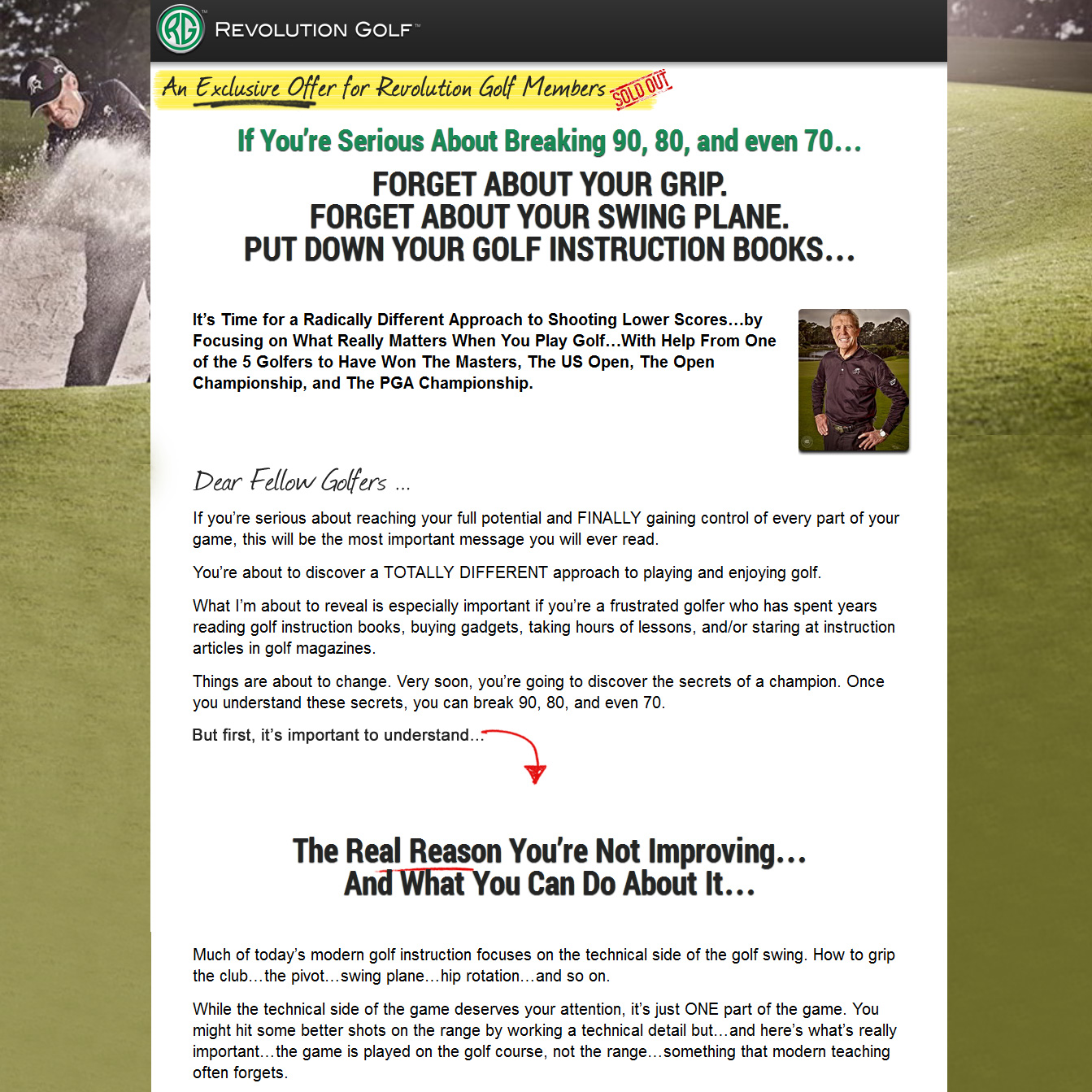 "Copy for Gary Player instructional DVD.  In 2013, Gary Player filmed an instructional series called A Game for Life. This copy sold the DVD series. There's also an online version. The ""big idea"" was to forget about more standard instructional approaches and discover how to get the ball around the golf course. The DVDs have been wildly popular."