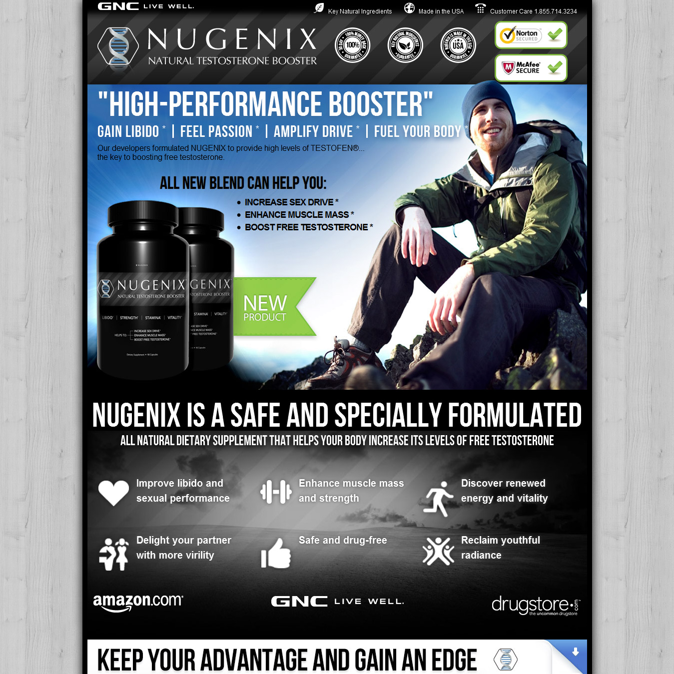 Sales page for testosterone dietary supplement.  This product has been a huge hit in a competitive space. It's the best selling testosterone booster in American GNC stores. We constantly tested headlines and other elements.