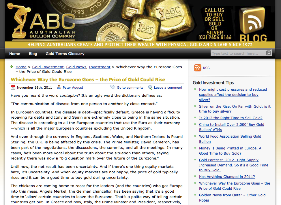 Blog for gold company
