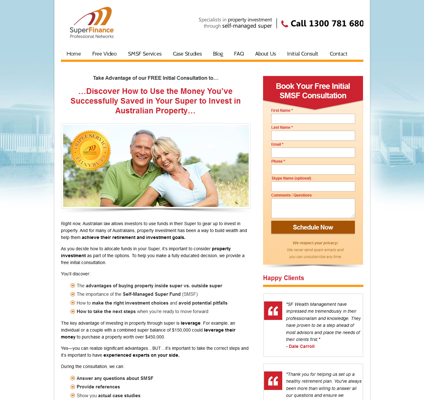 Squeeze page for financial information.  A classic example of a high-converting squeeze page. This page provides leads for a company specializing in a niche financial service in Australia. Note the first paragraph which hits the reader right between the eyes.
