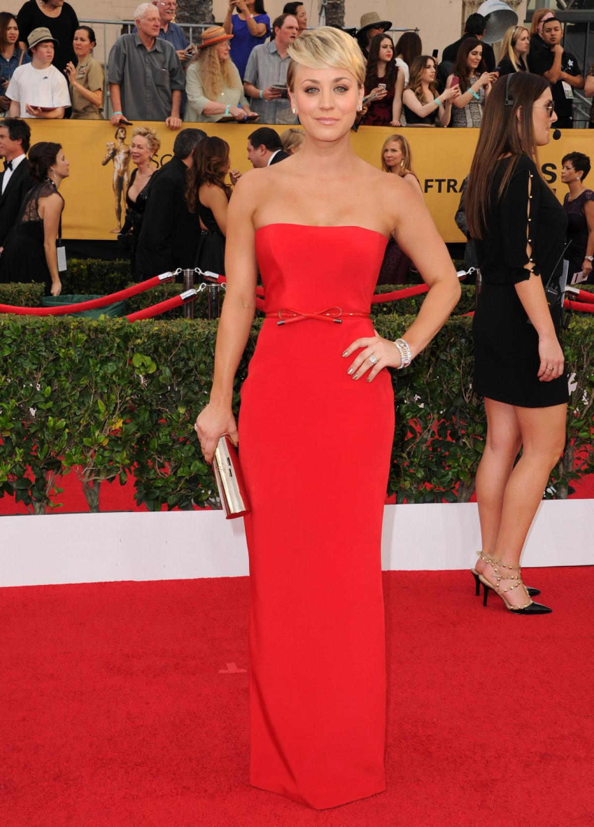 """""""Kaley Cuoco was a lady in red."""" - The Daily News    """"She looks like a modern day Grace Kelly."""" - Hollywood Life    """"One of our top five looks."""" - People Style Watch    """"Kaley Cuoco sizzles in red."""" - The Daily Mail"""