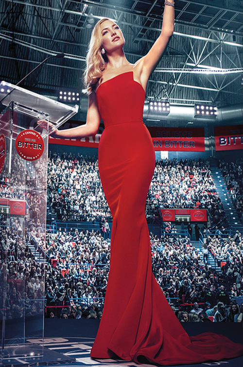 Oscar Nominee Actress Kate Hudson wears Romona Keveza on the cover of the 2016 Campari Calendar.