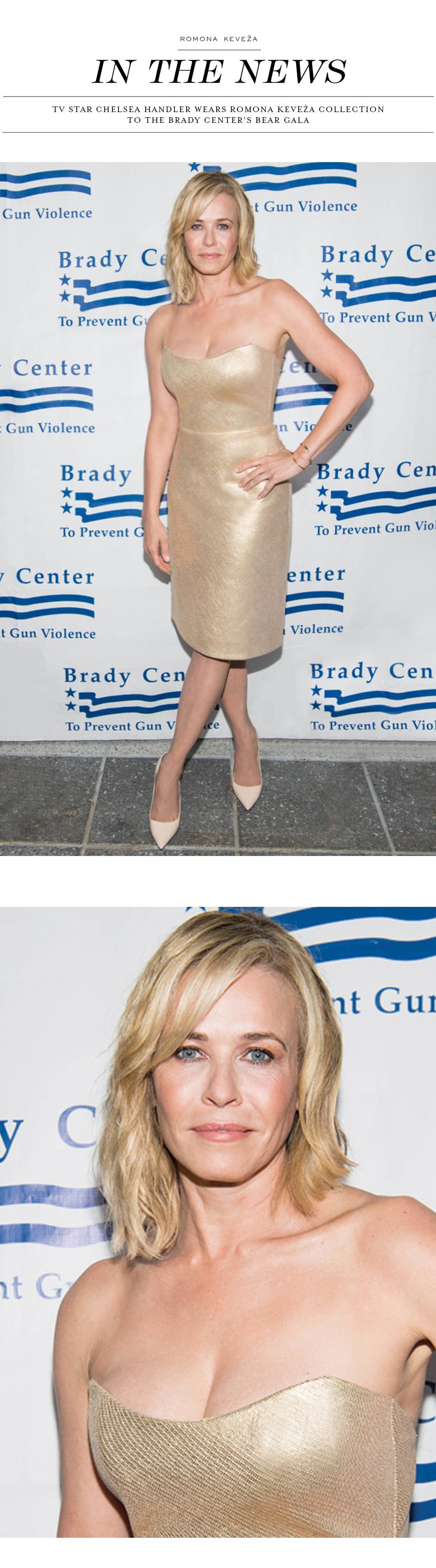 Chelsea Handler wears Romona Keveza Collection to the Brady Center's Bear Gala.