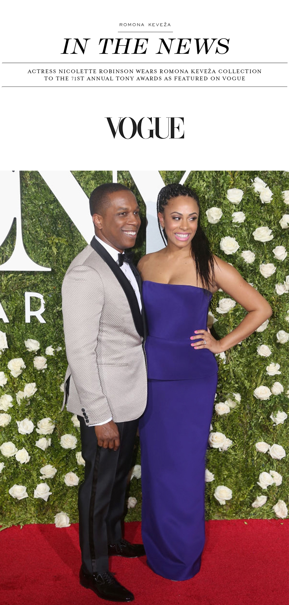 Nicolette Robinson wears Romona Keveza Collection to the 71st Annual Tony Awards as featured on VOGUE