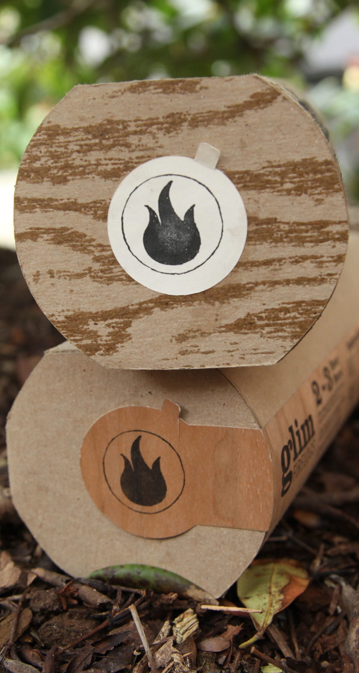 Glim fire logs branding and packaging