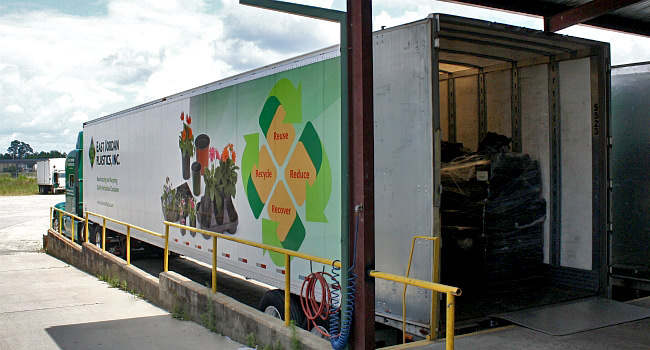 East Jordan Plastics truck at Sunbelt's loading dock