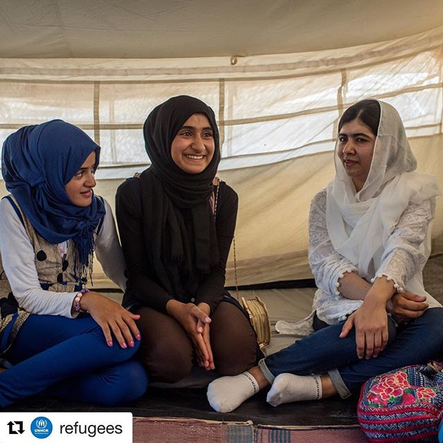 "#images4change  @refugees // ""I used Malala as a source of hope and inspiration to overcome my difficulties. I knew that one day I would be able to go back to school."" Anwar (center) welcomed Malala Yousafzai to her tent in Hasansham camp, Iraq. Anwar's shared her experience fleeing violence and bombing in western Mosul and how this affected her family and education. After learning more about the stories, struggle and resilience of displaced girls, Malala stressed the need to increase education funding so that students like Anwar can continue learning and are not left behind. © UNHCR/@CengizYar . . . . #WithRefugees #RefugeesWelcome#RefugeeStories #Refugees #UNHCR#Refugee #GlobalGoals #Child #Children#ChildrenUprooted #Education #MalalaFund#MalalaYousafzai #Study #Books #school#Mosul #Iraq #GirlPowerTrip"