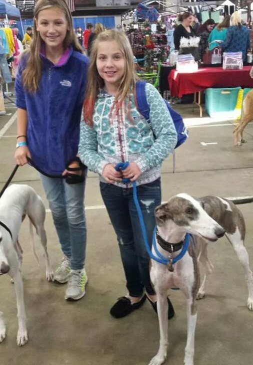Chloe Dalik With Copo and Ava Courtney with Ralphie -- future rescuers in the making
