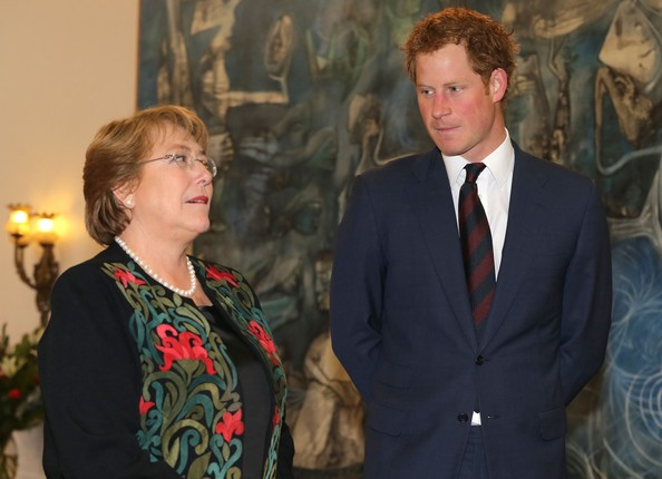 Prince Harry with Chilean President Michelle Bachelet