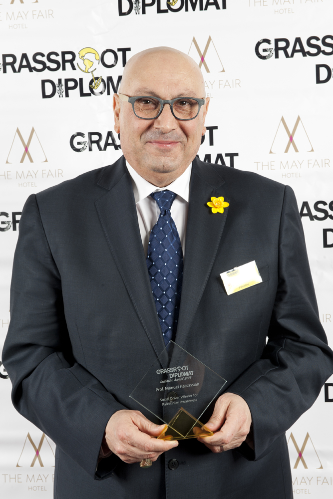 PROF. MANUEL HASSASSIAN - UK REPRESENTATIVE FOR PALESTINESOCIAL DRIVER WINNER: PALESTINIAN AWARENESS2015Since becoming the Palestinian Authority's diplomatic representative in late 2005, Manuel Hassassian  has become known as being the voice of Palestine and is considered the top diplomat of Palestine out of 90 representatives worldwide. Over the years, Mr Hassassian has been featured on 400 major TV interviews, spoke to all the think tanks in Washington DC, visited and spoke at every university in the United Kingdom, and actively engages with Palestinian solidarity campaigns in an effort to raise Palestine to the political agenda. He is visible in grassroots rallies and demonstrations and speaks candidly to British parliamentarians when devising policies and strategies that directly affect his country.