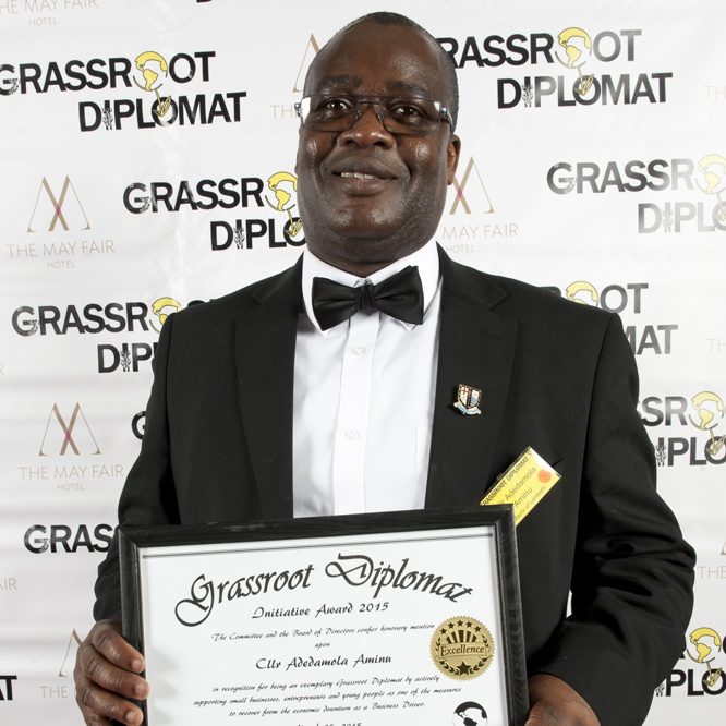 ADEDAMOLA AMINU - LAMBETH COUNCIL, LABOURHONOUREE2015A lecturer by profession, Cllr Aminu has helped to encourage parents to join governing bodies to gain skills and have a direct impact to their children's educational needs at a local level. He is also committed to raising awareness for his chosen charities including the Girl Guide Network Worldwide which supports gender rights, empowerment and education, reaching out to African girls who are economically deprived and subject to physical and cultural risks. He has so far raised over £4,000 for the charity and is committed to surpassing this goal by the end of his Mayoral tenure.