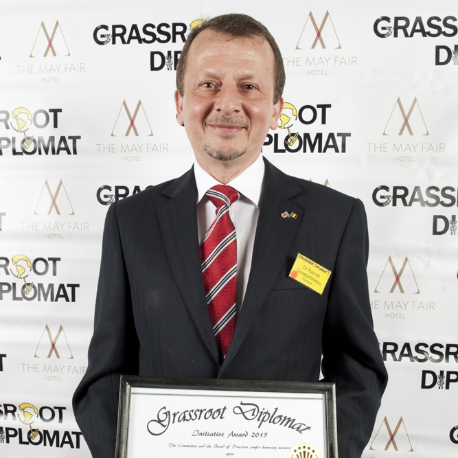 "DR RAZVAN CONSTANTINESCU - ROMANIA, BRISTOLHONOUREE2015Dr Constantinescu successfully recruited a team of 25 volunteers of all ages and diverse ethnicity to organise Bristol's first ever Voting Station for the Romanian Community. Approximately 4,000 Romanians live in South West England and the facilitation of this important occasion helped to establish strong relations between different communities in the area. Dr Constantinescu also initiated charity project ""From Bristol with Love"" in March 2014 with the simple aim of delivering aid to disadvantaged communities in Romania. In less than 8 months, he and his team of volunteers delivered over 88 boxes of clothes, toys, and educational equipment to Romanian orphanages in partnership with coach travel companies."