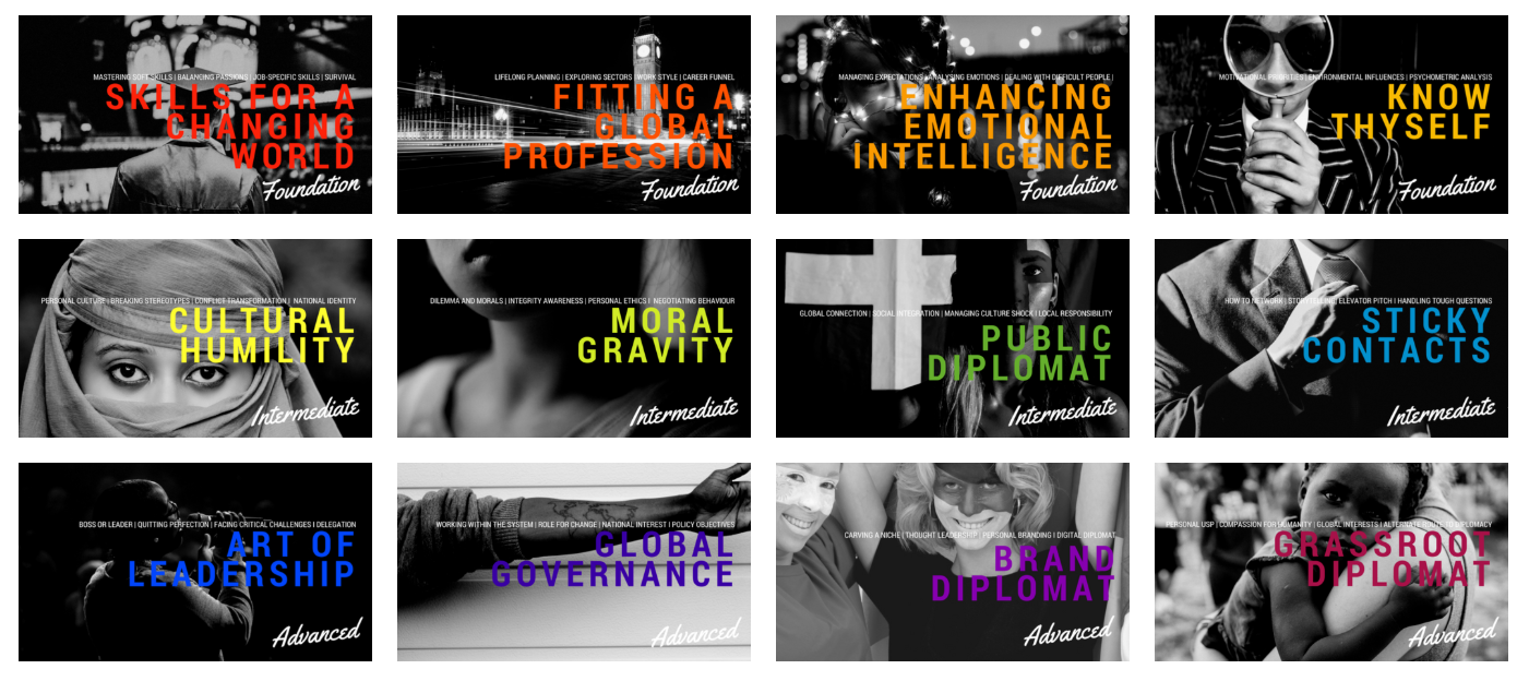 12 themes of the Grassroot Diplomat Online Academy