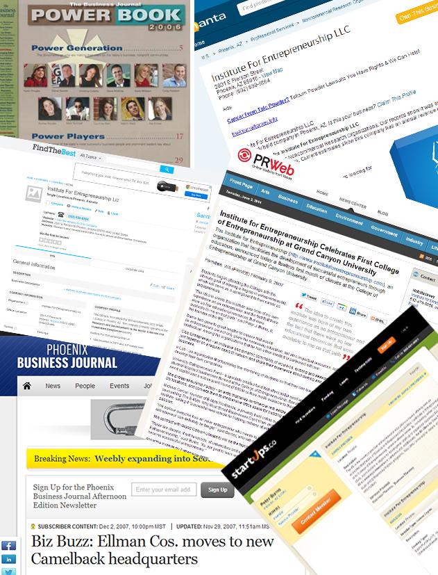 "PR Web :  ""Institute for Entrepreneurship Celebrates First College of Entrepreneurship at Grand Canyon University""  (2007)   Institute for Entrepreneurship LLC"