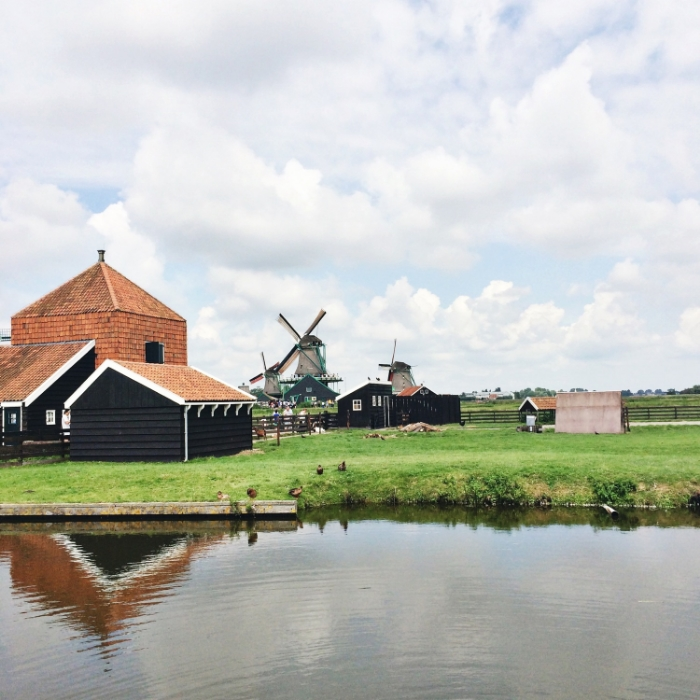 Not to be misleading, this is not Amsterdam, this is Zaanse Schans, a small village just outside Amsterdam.