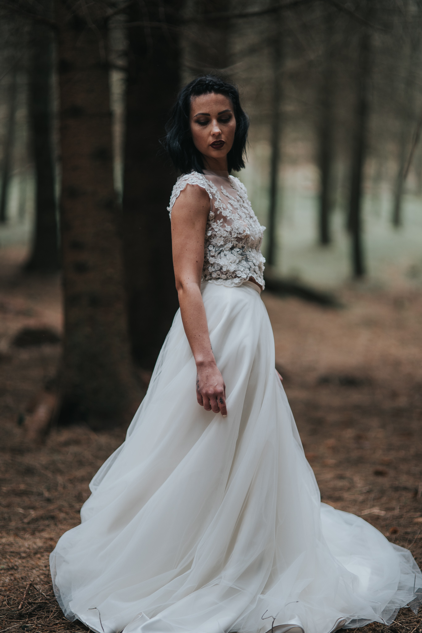 birmingham-wedding-photography-bridal-portraits-two-piece-dress-lace-tulle-sutton-coldfield