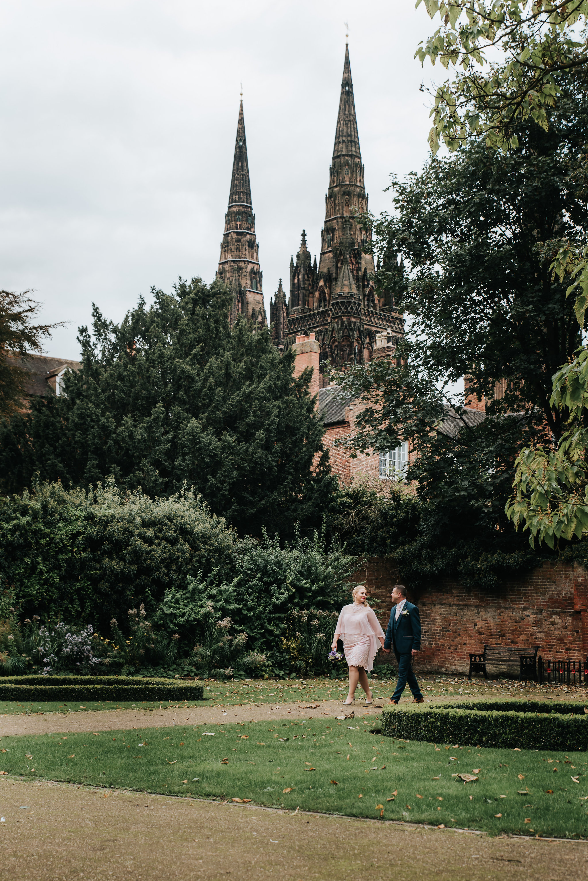 The beautiful Spires of Lichfield Catherdral can be seen in the background.  Lichfield Catherdral is the only medieval  English cathedral with three spires .
