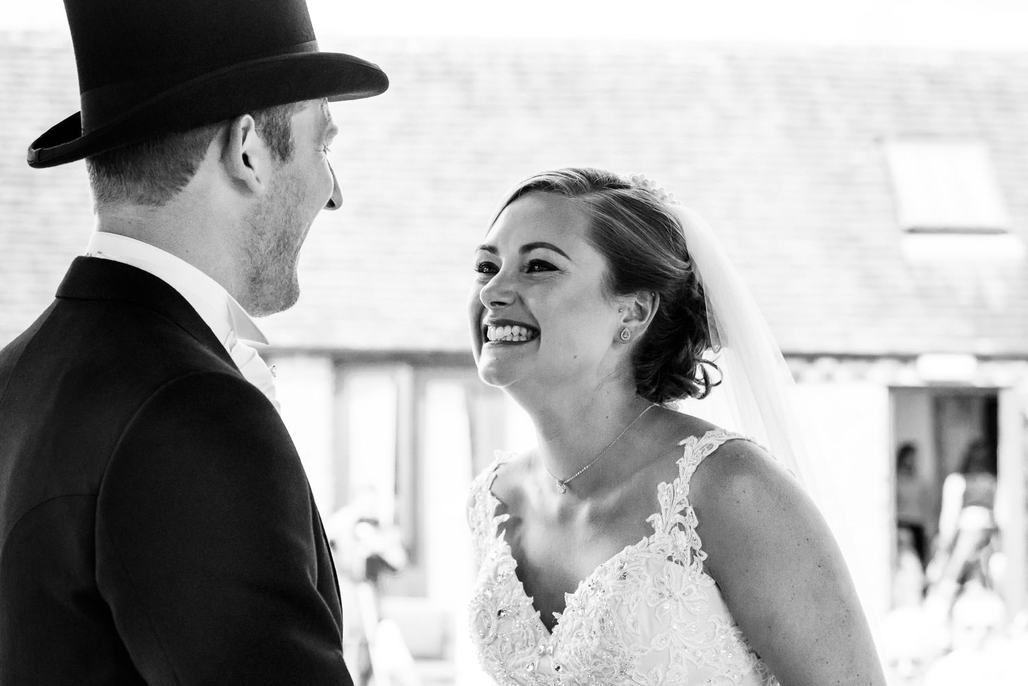 The happy couple during their sunny Wethele Manor ceremony in Coventry.
