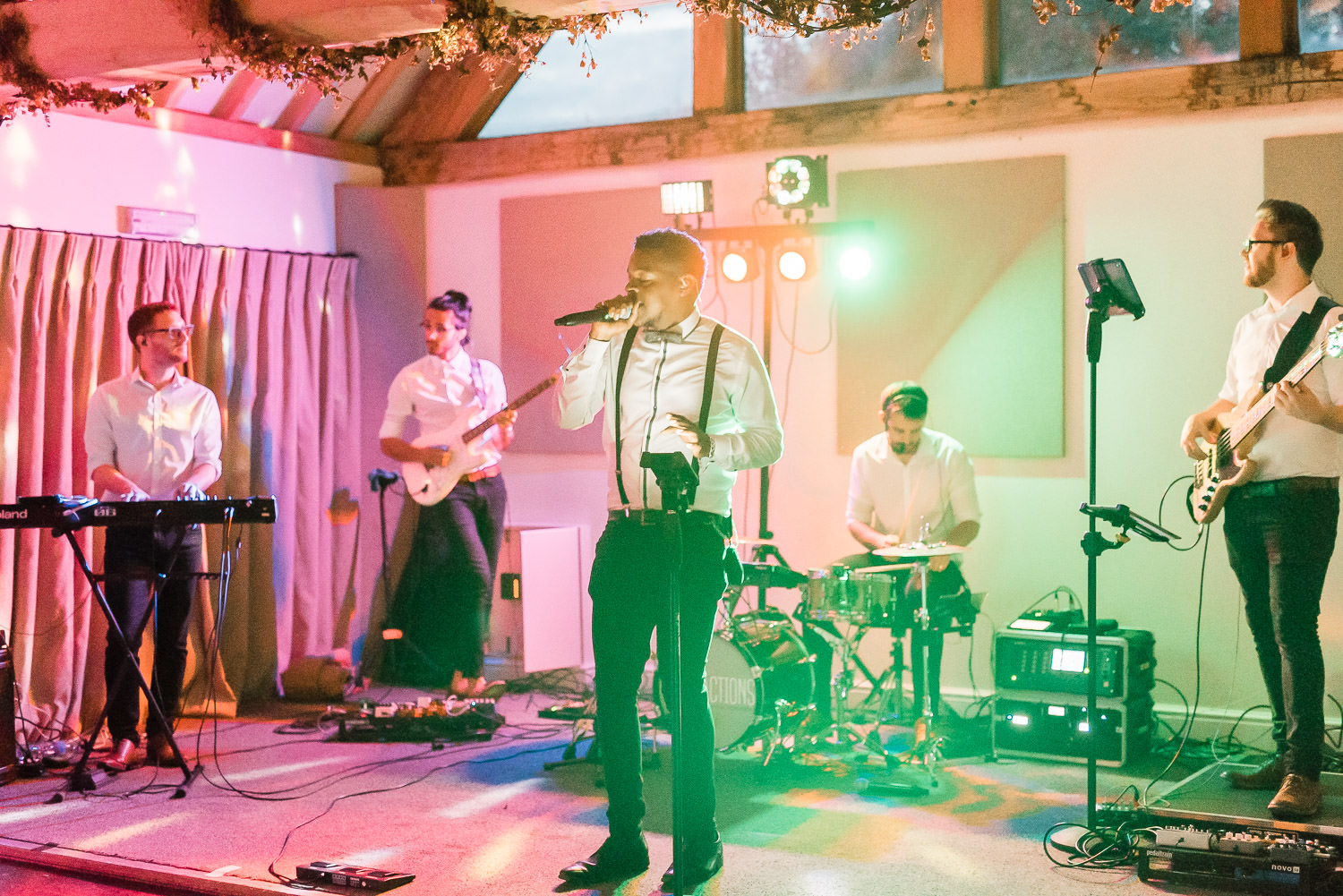 The Distractions Band being awesome at a Wethele Manor wedding party.
