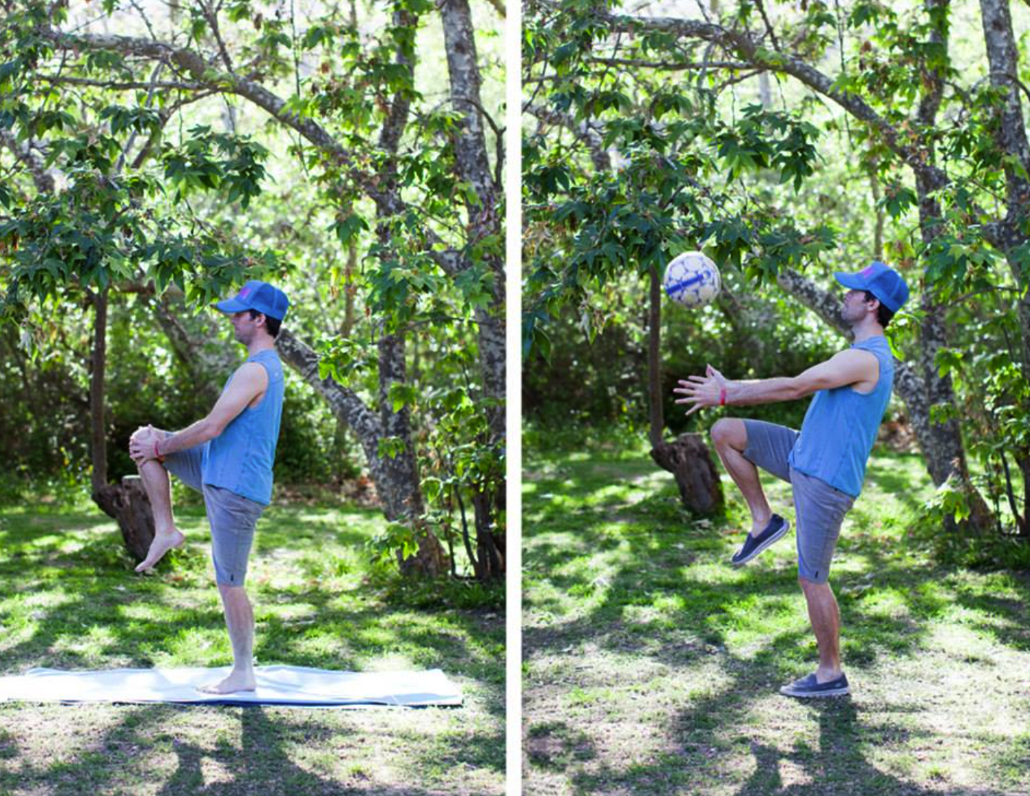 On your way to this knee extension, there's time for a pick up game.
