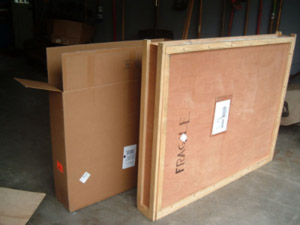 We ship and crate your paintings in either custom wooden boxes or in double-backed cardboard.
