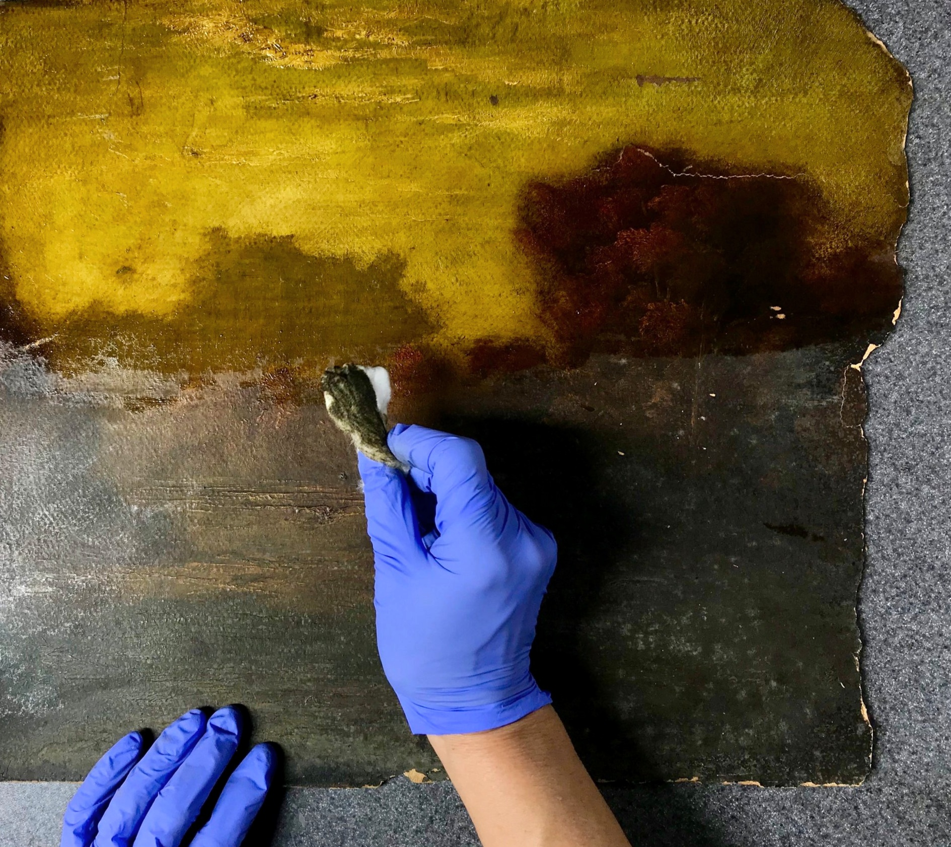 Painting Restoration Services: - -Varnish Removal-Surface Cleaning-Tear Repair-Paint Loss Repair-Water and Smoke Damage