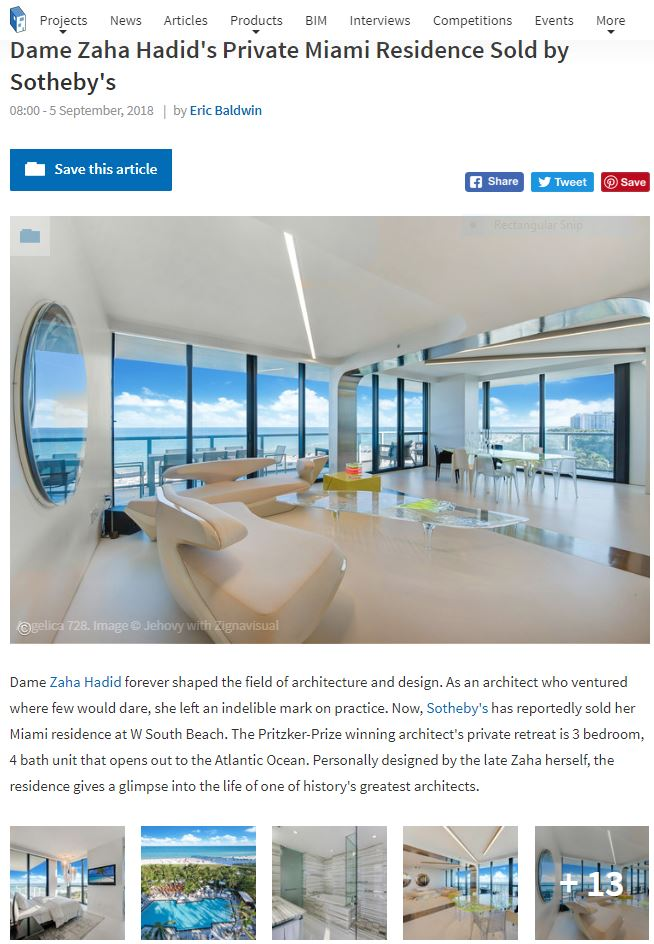 Dame Zaha Hadid's Private Miami Residence